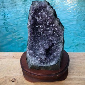 Other - Amethyst Geode Crystal Cluster on Wooden Stand